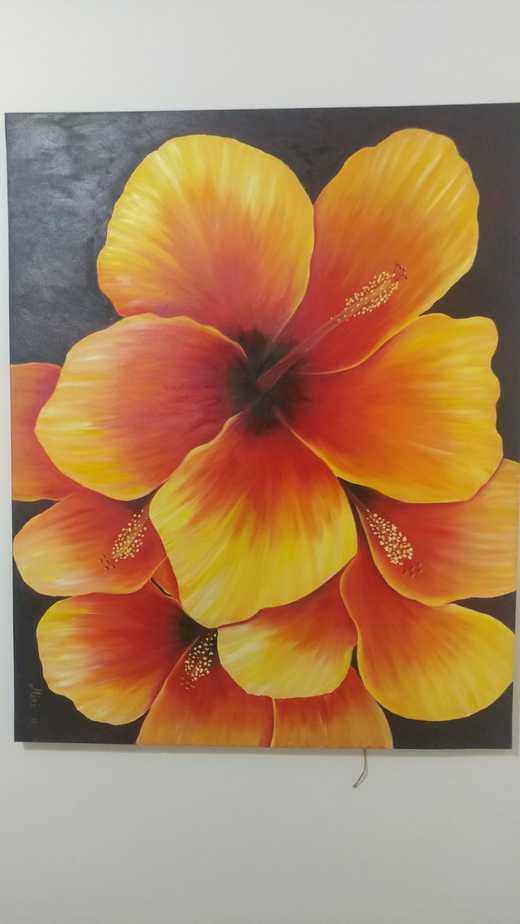 פרח ההיביסקוס, שמן על בד